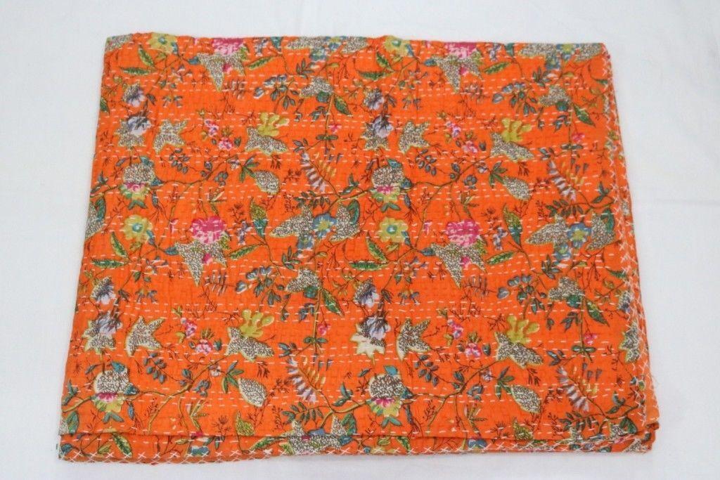 Bed Cover Bedspread Paradise Gudri Print Vintage Quilt Kantha Throw Handmade