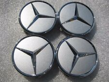 """SET OF 4  USED TAKE OFF 18"""" FACTORY MERCEDES BEZ OEM SILVER CENTER CAP CAPS"""