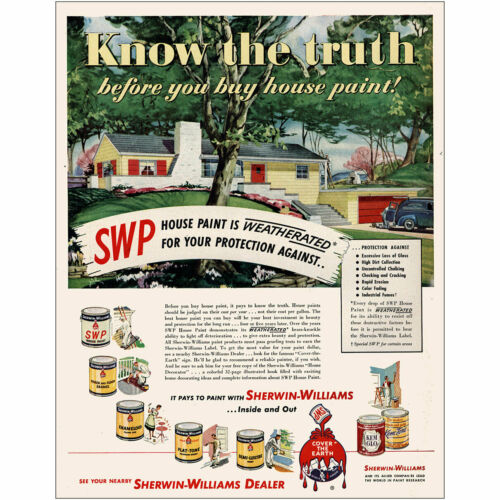 1950 Sherwin Williams Know the Truth Vintage Print Ad