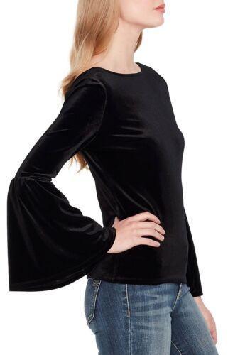 Jessica Simpson Black Caster V-Back Bell Sleeve Stretch Velvet Top $79