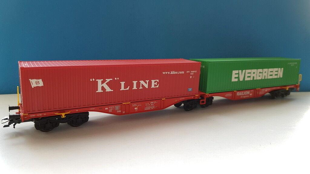 Märklin 47800 Doppel-Containertragwagen Bauart Sggrss 80 40ft. Cont. K-Line Ever