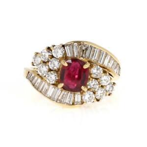 18k Yellow Gold 2.64ct Diamond & Ruby Cocktail Ring LIQUIDATION!