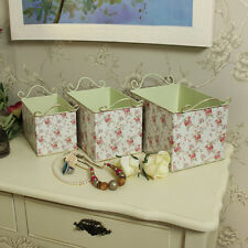 Set of 3 floral rose metal storage box containers shabby vintage chic makeup