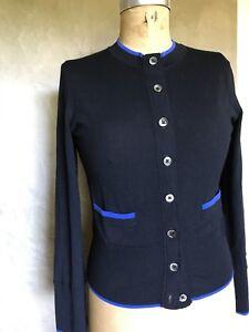 Trim Blå Sweater Brothers S 1818 100 Black Women's Merino Uld Brooks Cardigan CagSqxwSP
