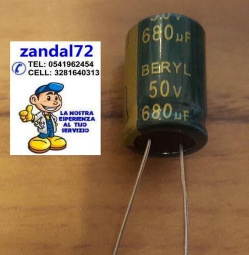 2 PEZZI CONDENSATORI ELETTROLITICI VERTICALI 680uF 50V VOLT 105° 13x20 PASSO 5mm