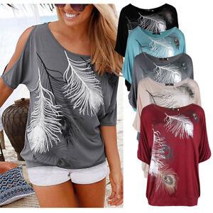 8e8ecd1d96f55 Womens Cold Shoulder T-Shirt Tops Short Sleeve Summer Feather Tee ...