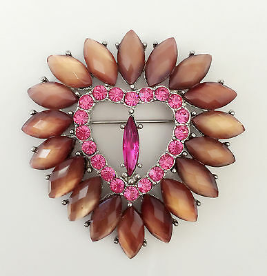 Pins & Brooches New Peach Rose Pink Flower Wedding Party Gift Heart Crystal Brooch Pin Br1191 Yet Not Vulgar Jewelry & Watches
