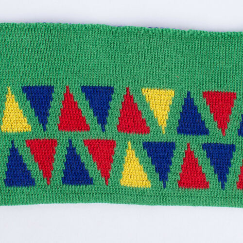 Cuff Bündchen Fertigbündchen Retro Dreiecke grün blau rot gelb 7x110cm