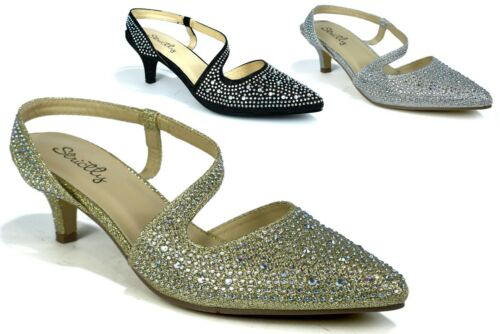 New Ankle Strap Diamante Pointed Toe Low Kitten Heel Smart Party Prom Sandal UK