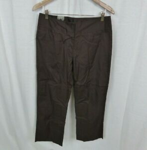 NEW Mossimo Brown Stretch Low Rise Cropped Pants Cotton Blend Women's Size 8