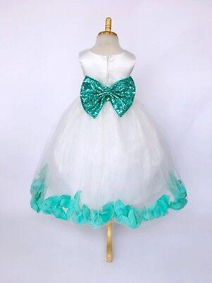 Ivory Spaghetti Flower Girl Kelly Green Petal Dress Spring Easter Wedding Summer