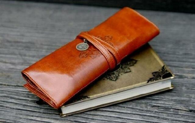 Pencil Pen Case Make-up Tool Storage Bag PU Leather Clutch Creative Design