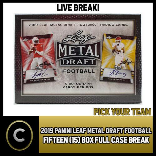 2019 LEAF METAL DRAFT FOOTBALL 15 BOX FULL CASE PICK YOUR TEAM BREAK #F167