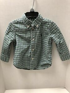 Ralph-Lauren-Infant-Boys-Size-18-Months-Long-Sleeved-Blue-Green-Plaid-Shirt