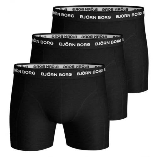 Black Bjorn Borg 3-Pack Classic Logo Boxer Trunks