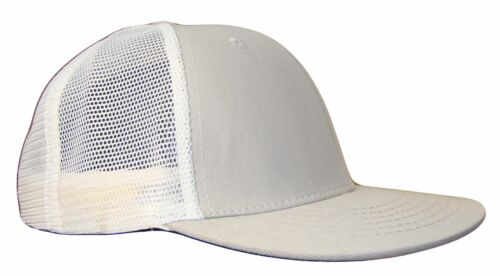 Grey /& White 6 Panel Mesh Trucker Flat Bill Snap Snapback Cap Caps Hat Hats