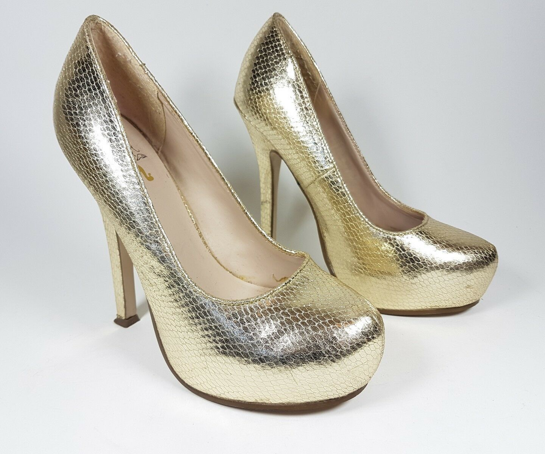 KG by Kurt Geiger gold leather high heel shoes uk 3 eu 36