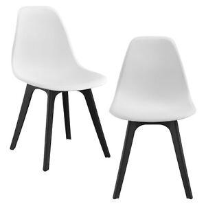 2x design st hle wei schwarz esszimmer stuhl kunststoff skandinavisch ebay