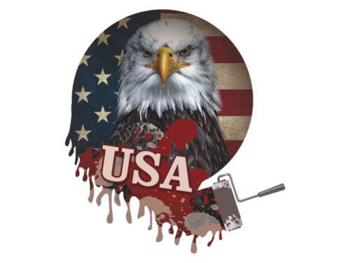 Sticker Autocollant Sticker Déco Pour Salon sort USA Aigle Drapeau Coloré