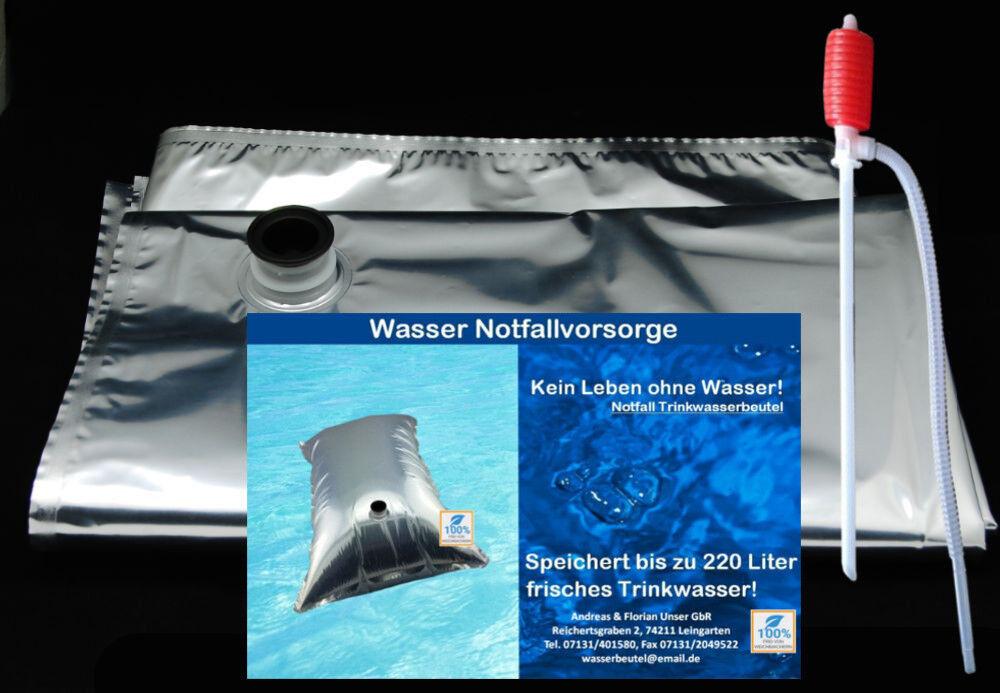 (22,50 Stk) Wasserbeutel Prepper 5x220 ltr.= 1100 Liter Notfall Wasser-Vorsorge