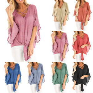 Womens-Loose-Blouse-V-Neck-Batwing-Sleeve-Tops-Summer-Casual-Beach-T-Shirts-Top