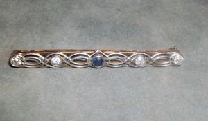 Beautiful-Victorian-Diamond-and-Saphire-Filigree-Bar-Pin-14K-gold-w-4-diamonds