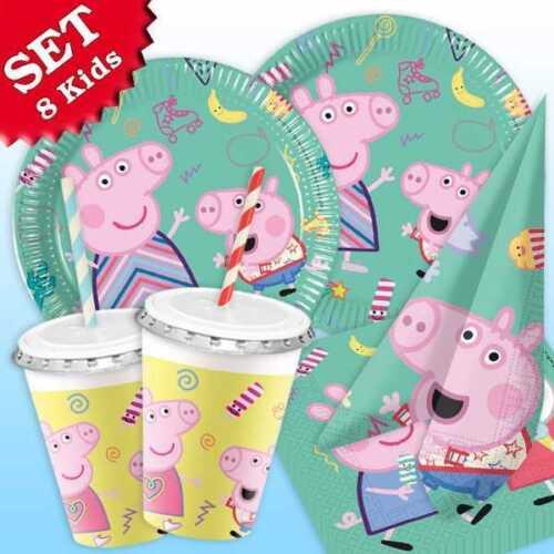 64 pièces Peppa Pig 8 Kids Set Couvert Party assiettes gobelets serviettes table couvert