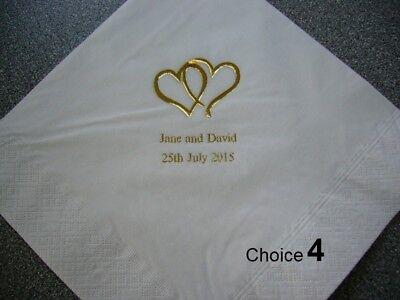 100 Tovaglioli Matrimonio Personalizzato 10 Design & Tovagliolo 12 Colori Tra Cui Scegliere-