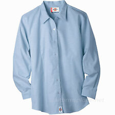6fe20020 Dickies Shirts Women Stretch Oxford Work Shirt Long Sleeve Top FL011 BLUE  WHITE