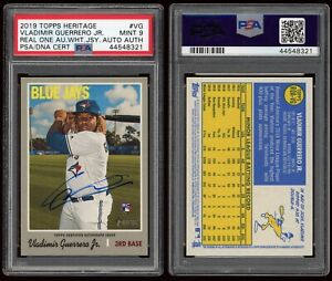 2019 Topps Heritage Vladimir Guerrero Jr PSA/DNA 9 SP RC Real One Auto AUTHENTIC