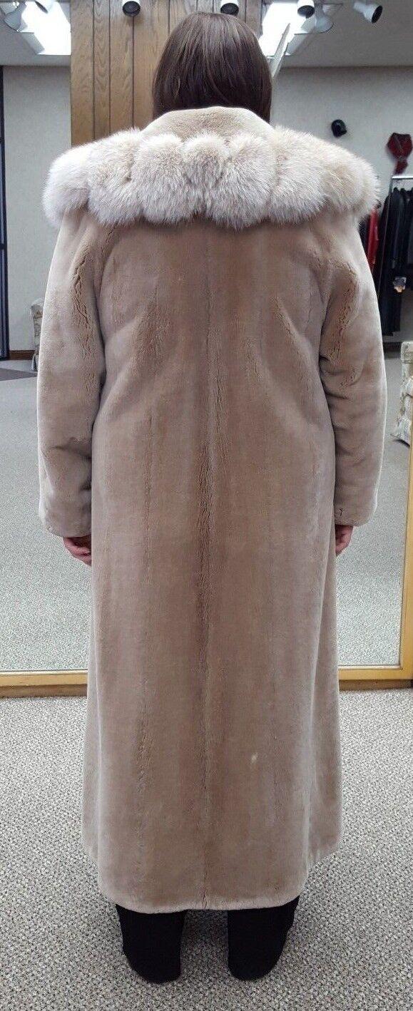 CLEARANCE  Sheared Beaver Fur Fur Fur 53  Coat with Fox Collar - size 14 d4851f