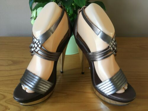 Eu Rrp 60 Uk Leather Platform Sandali Faith New Strappy 38 5 Pewter £ Toe Peep 7nqf6z