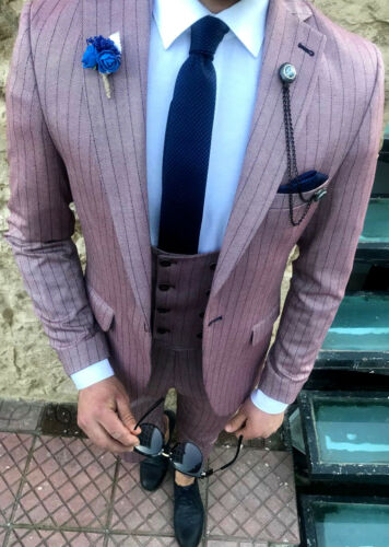 Weste Altrose Designer Business Sakko Tailliert Herrenanzug Nadelstreifen Slim wTqx6B7