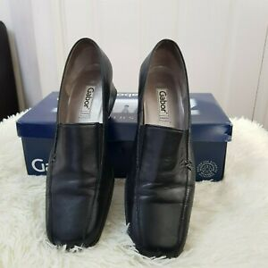 Details about Ladies Gabor Comfort Easy Walking Black Leather Court Shoes Size 6 Block Heel