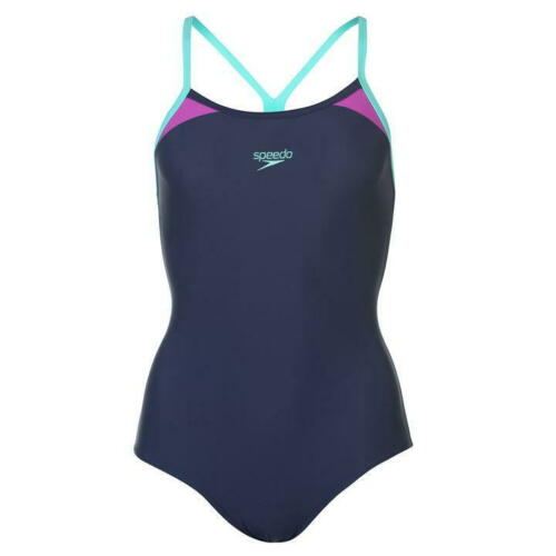 Ladies Branded Speedo Printed Logo UPF 50 Trs Racer Swimsuit Swimwear Size 8-20