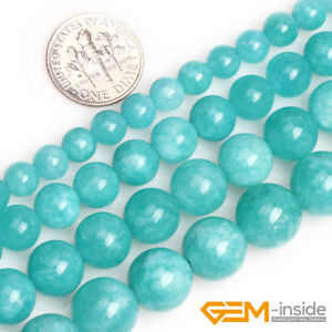 Blue-Amazonite-Color-Jade-Gemstone-Round-Loose-Spacer-Beads-For-Jewelry-Making