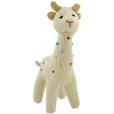 Rich Frog Squeaky Giraffe Knit Cream White Cotton Squeaker Baby Stuffed NEW