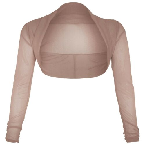 NUOVA donna maglia coprispalle increspato Chiffon Bolero Maniche Lunghe Cardigan Crop Top 8-26