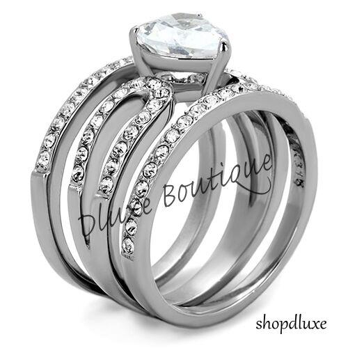 3.15 Ct Heart Shape CZ Wedding /& Engagement Ring 3 Piece Set Women/'s Size 5-10