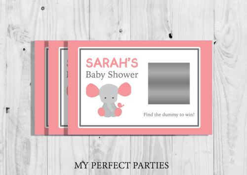 Baby Girl 2 10 x Personalised Pink Elephant Baby Shower Scratch Cards