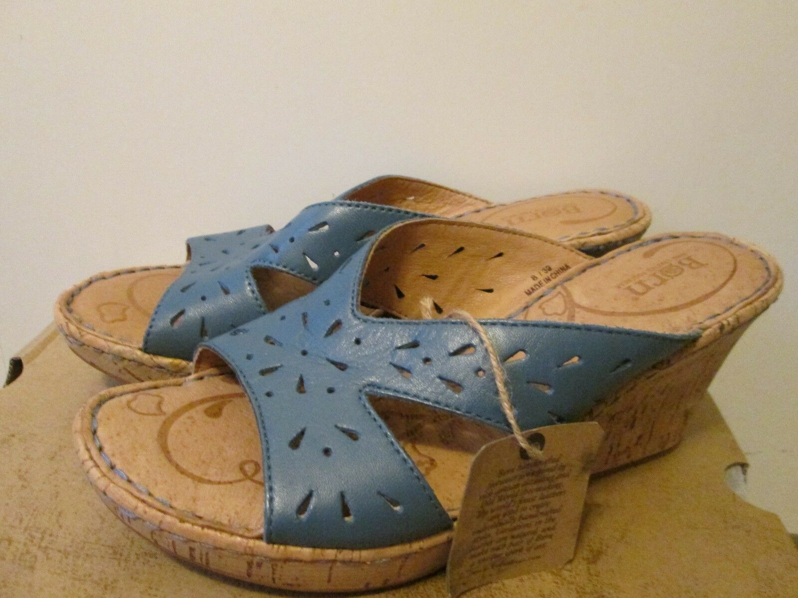 120 BORN Canova Blau Leather High Sz Heel Wedge Platform Sandal Slide Sz High 8 NEW a0f350
