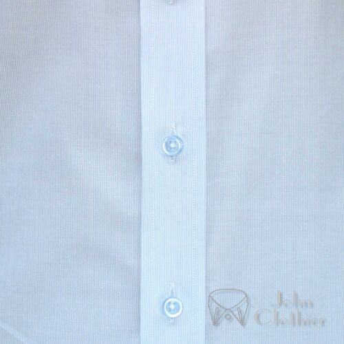 James Bond collar Bankers Cotton shirt Mens Sky Blue pin stripes Loop Tab Gents