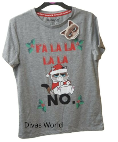Al Grumpy Cat Natale T-shirt Donna Stampata Natale Tee Casual Novità Top Primark