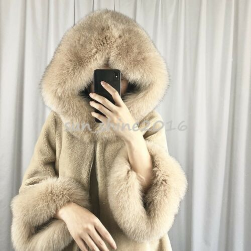 Coat Genuine Hooded Jacket Lamb Hot Women Warm Parka Fur Outwear Natural Thicken 7YcUx