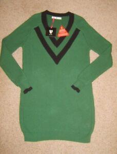 c6a87305263 Ladies Very Deep V Neck Green Contrast Stripe Long Jumper Dress ...