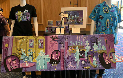 Disneyland Haunted Mansion 50th Anniversary Shag 31 Ghosts Camp Shirt XL