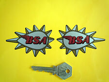 "BSA Spiked Teardrop Motorcycle STICKERS 3"" Pair Gold Star Rocket Hornet Victor"