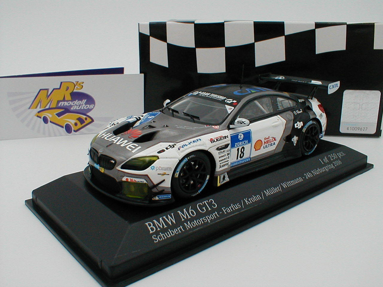 Minichamps 437162618 BMW m6 gt3 from 24h Nürburgring 2016 'Schubert' 1 43 NEW