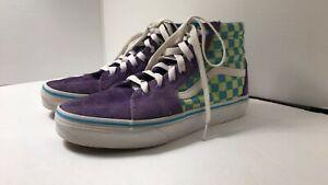Vans girls boys Tennis Skateboard Shoes Sz 3.5 kids checkered turquoise & purple