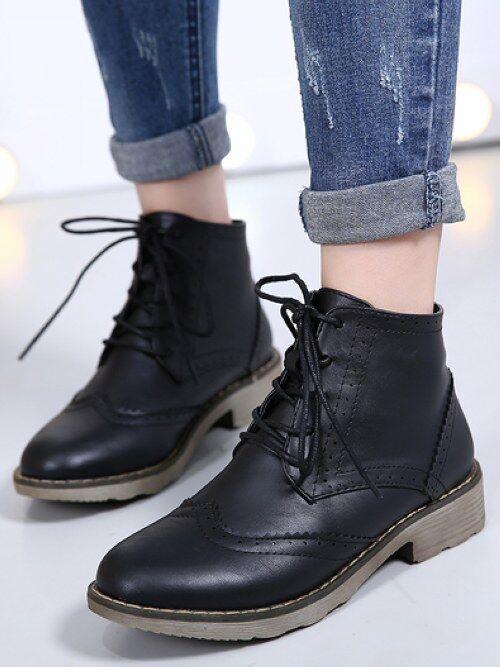 botas Elegantes bajo botas Militares 3 cm Negro Cómodo Piel Sintético Cw953